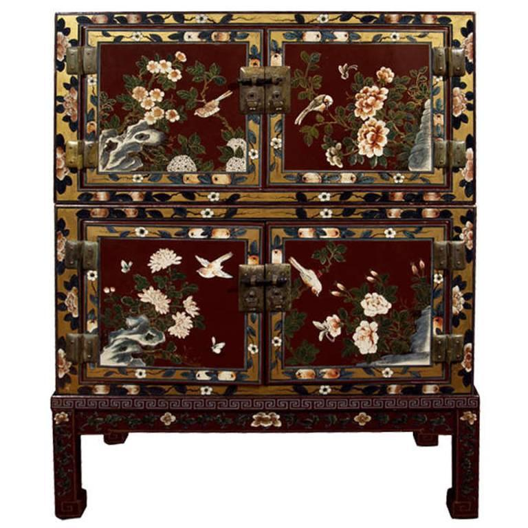 Japanese Painted Chest on Stand