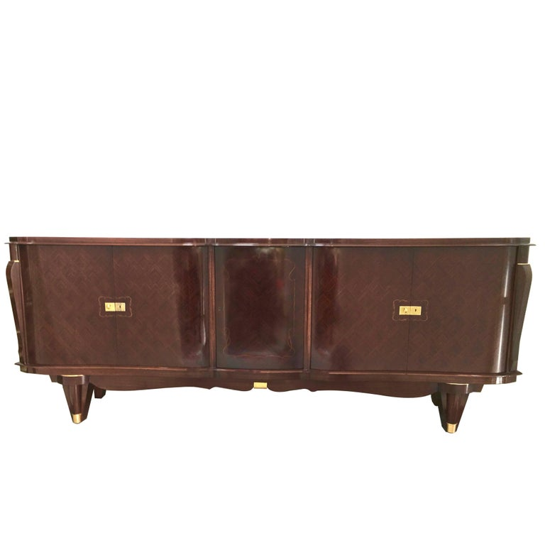 Stunning French Five-Door Deco Buffet Curved Macassar Ebony and Bronze Details