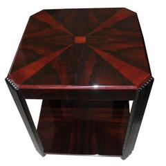 Palisander Art Deco Side Table with Fluted Legs