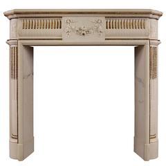 English Regency Statuary Marble Fireplace with Inlaid Brass Ormolu