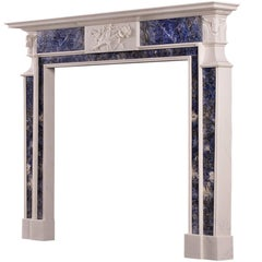 Late Georgian White Marble Fireplace with Blue Inlay