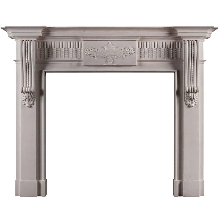 Georgian Style White Marble Fireplace with Carved Brackets