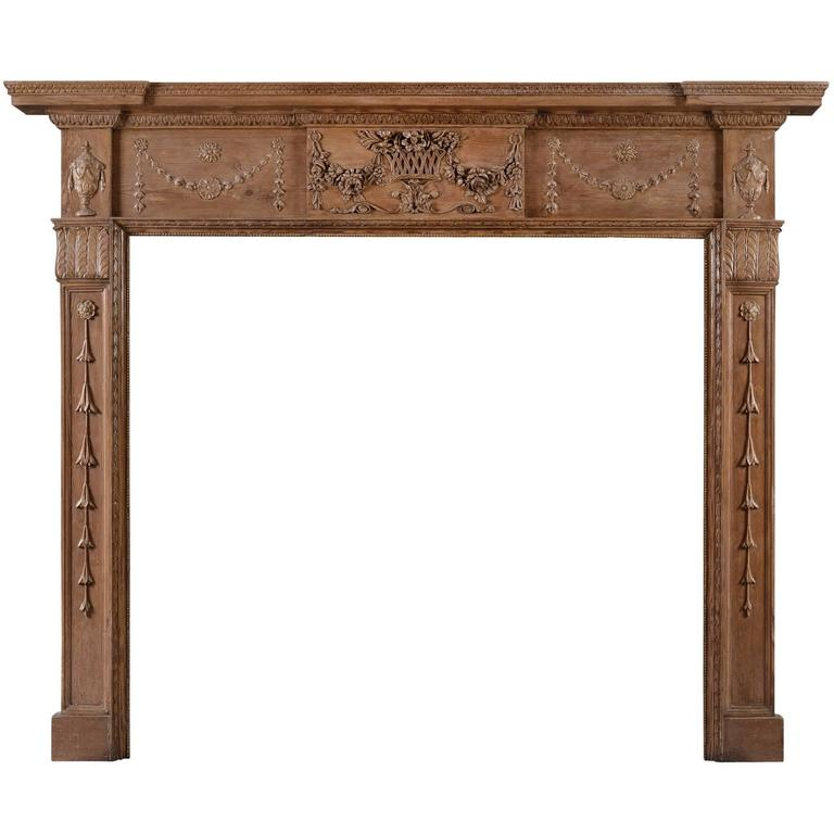 English Pine and Gesso Antique Fireplace