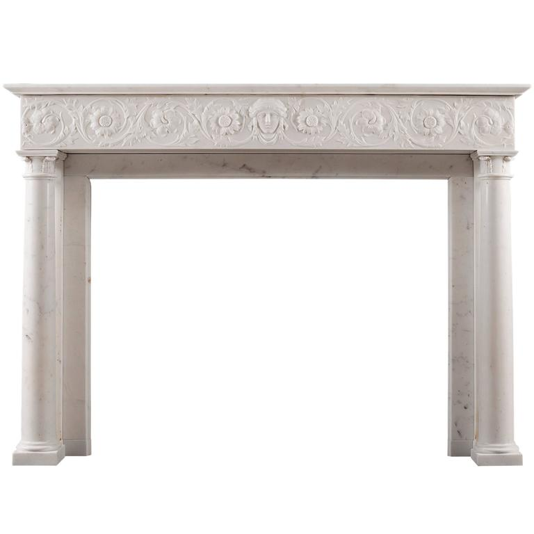 19th Century Statuary Marble Antique Fireplace