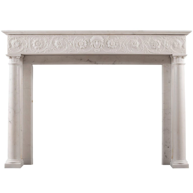 19th Century Statuary Marble Antique Fireplace For Sale