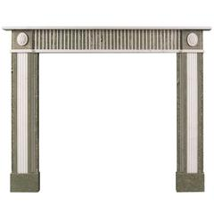 Regency Style Fireplace in Swedish Green Marble with Statuary Inlay