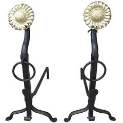 Large Turn of the Century Iron and Brass Sunflower Andirons