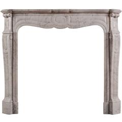 19th Century Louis XV Pompadour Marble Fireplace