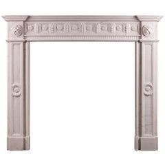 Irish Georgian Style White Marble Fireplace
