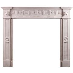 Irish Georgian Style White Marble Fireplace