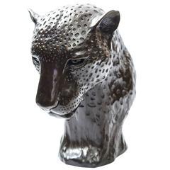 Bronze Leopard Head Sculpture Donald Greig Rare