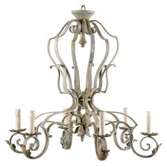 French Mid-20th Century Painted Six-Light Chandelier