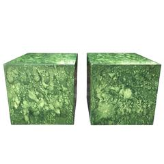 Pair of Italian, Mid-Century Faux Malachite Cubes in Style of Fornasetti