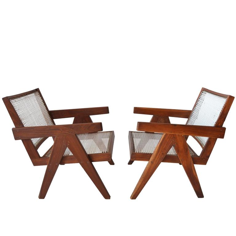 Pair of Pierre Jeannette Easy Lounge Chairs from Chandigarh, circa 1956 1