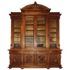 Monumental French Carved Bookcase