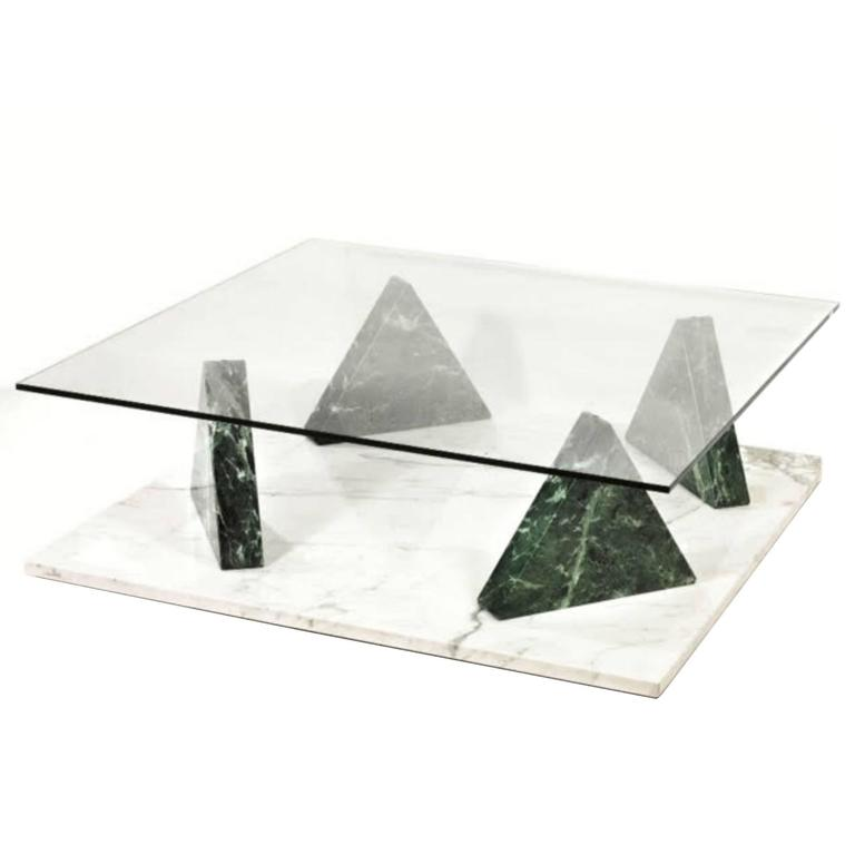 Marble Glass Top Coffee Table: Ettore Sottsass Jaipur Coffee Table, Marble Base With