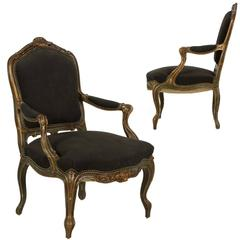 Pair of French Louis XV Style Polychromed Antique Fauteuil Armchairs, circa 1880