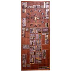 Danish Modern Teak and Tile Brutalist Wall Clock