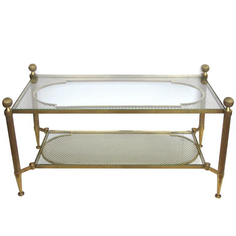 good quality french brass and glass coffee table with