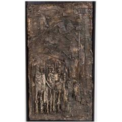 Handsome Brutalist Mid-Century Cast Relief of Ceremonial Scene in Bronze Finish