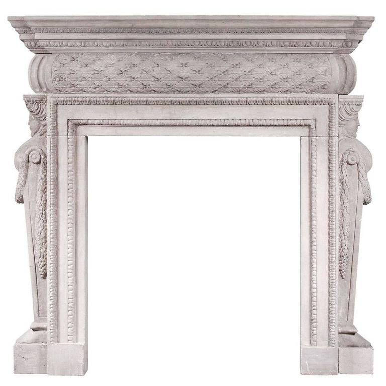 Petite Georgian Style Stone Fireplace For Sale