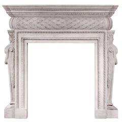 Petite Georgian Style Stone Fireplace