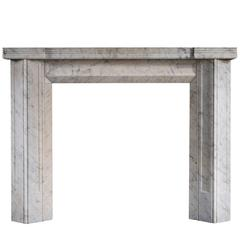 Unusual English Carrara Marble Fireplace in the Art Deco Style
