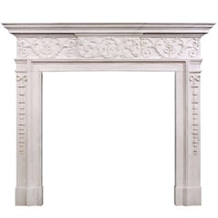 Attractive George III Style White Marble Fireplace