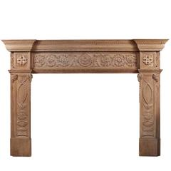 Imposing Period English Antique Regency Pine Fireplace