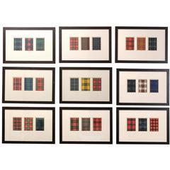 Custom Framed Plaid Patterns, Set of Nine