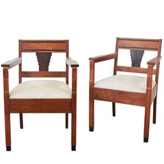 Pair of Amsterdam School Open Armchairs