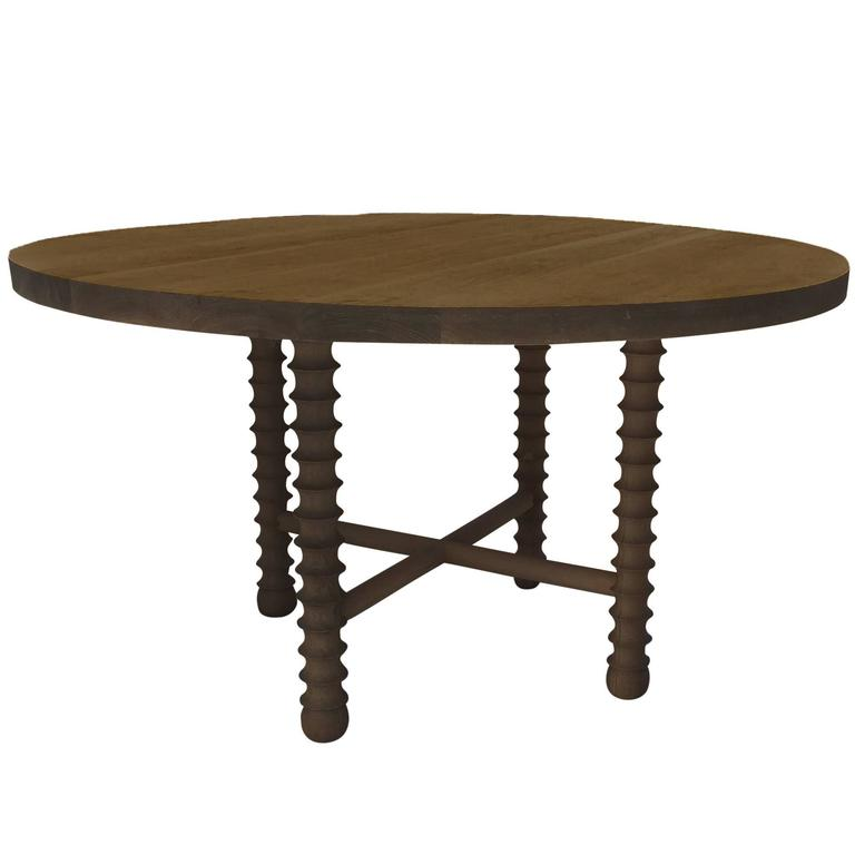 Ojai Round Dining Table in Dark Oak Finish by Haskell Studio