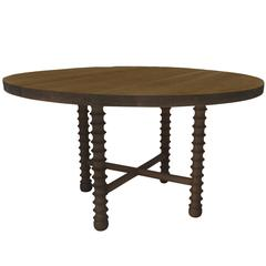 Ojai Round Dining Table in Dark Oak Finish by Haskell Studio