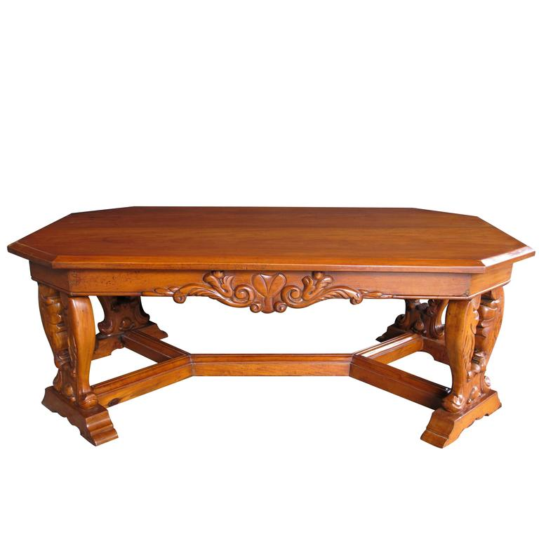 Handsome And Boldly Carved French Baroque Style Cherrywood Coffee Cocktail Table For Sale At 1stdibs