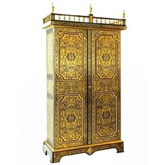 Antique French Cut Brass Inlaid Cabinet Wardrobe, circa 1910
