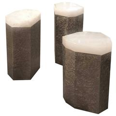 Group of Three Rock Crystal Quartz Side Tables Design by Jean Patrick Guilbert