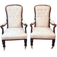 Antique Pair of Rosewood Library Armchairs