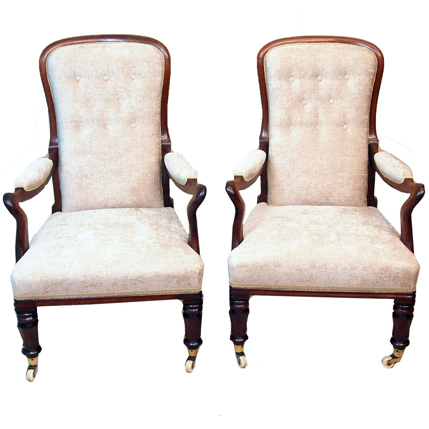 Antique Pair Of Rosewood Library Armchairs For Sale At 1stdibs