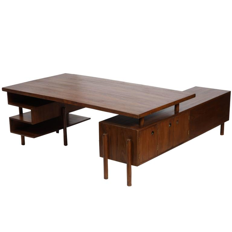 Pierre Jeanneret Rare and Exceptional Administrative Office Desk For Sale