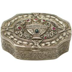 1880s French Silver, 0.69 Carat Ruby, Sapphire and Emerald Box