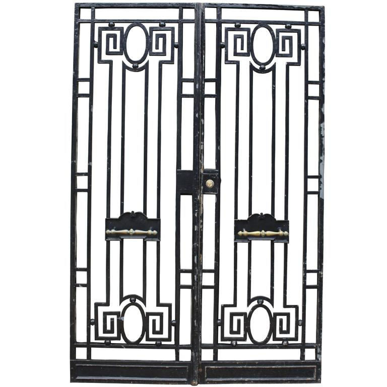 Pair of Antique Wrought Iron Pedestrian Gates For Sale