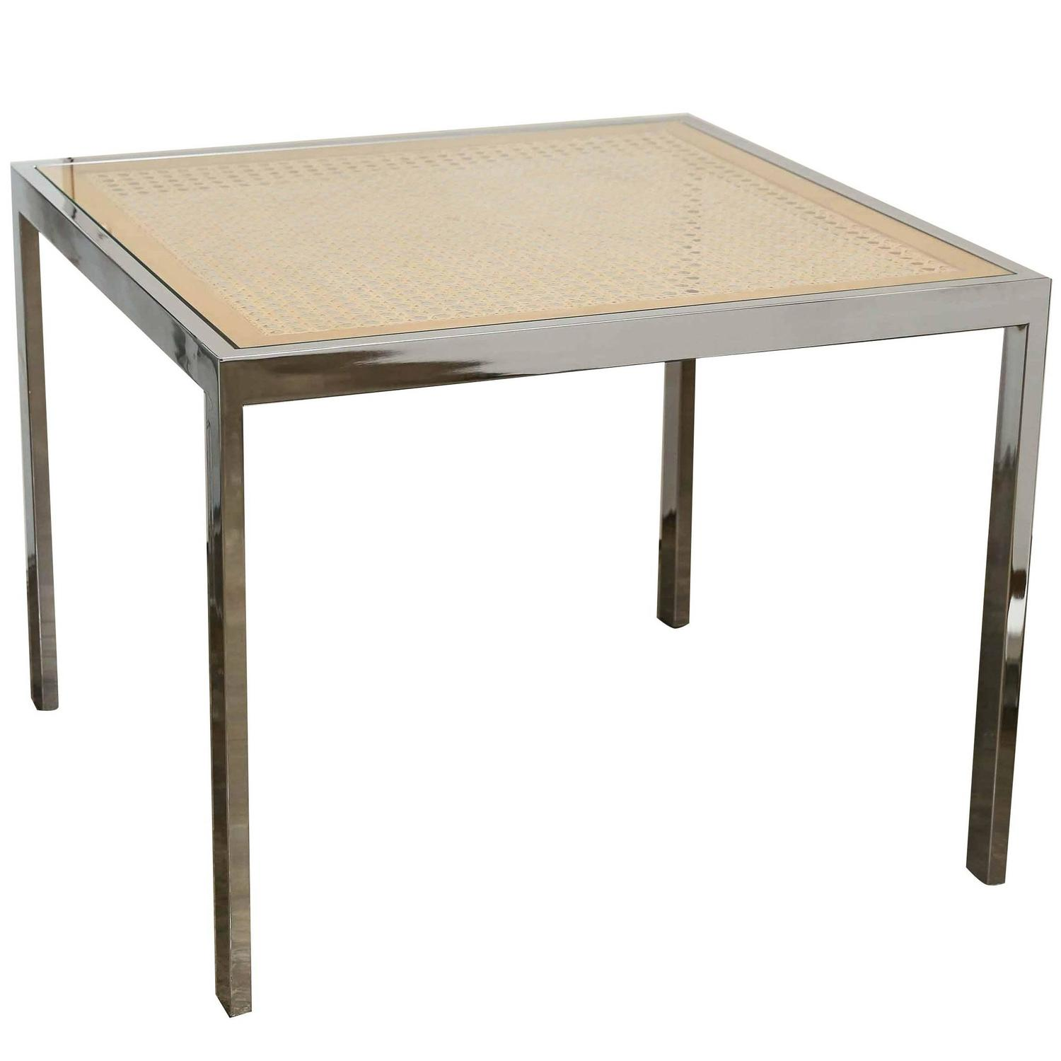 Superb Mid Century Modern Chrome, Glass And Wicker Game Or Dining Table For Sale  At 1stdibs