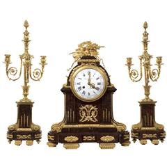Red Griotte Marble and Ormolu Three-Piece Clock Garniture by Raingo FrèRes