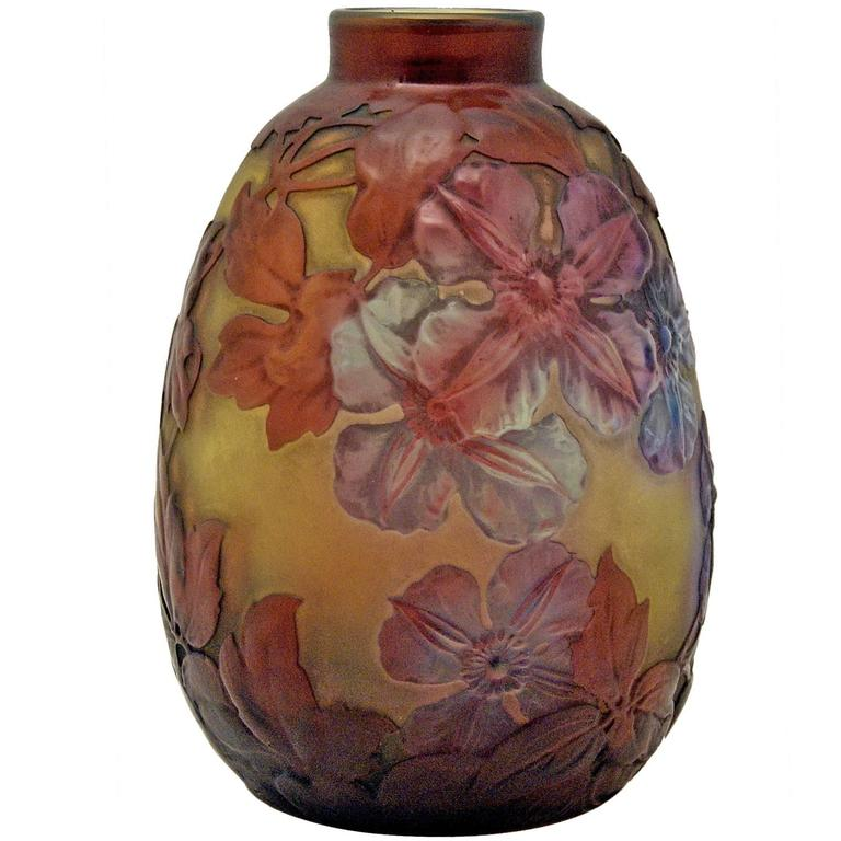 Emile Galle Finest Bellied Vase Gallé Nancy Art Nouveau Clematis Flowers c.1920