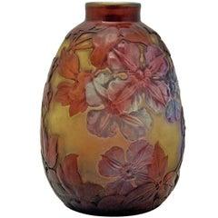 Emile Galle Finest Bellied Vase Gallé Nancy Art Nouveau Clematis Flowers c.1920