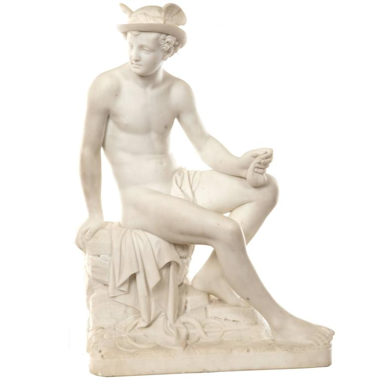 19th Century Marble Sculpture of Hermes For Sale