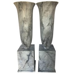 Grand Faux Marble Urn Vessels, Pair