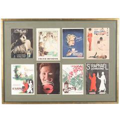 French Mid-Century Advertising Posters in Wooden Frame