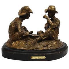 "Bronze Sculpture Jim Thomas ""Bettin' the Ranch"" Western Cowboys"