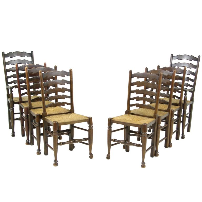 100 Ladder Back Chairs With Rush Seats Set Of Eight